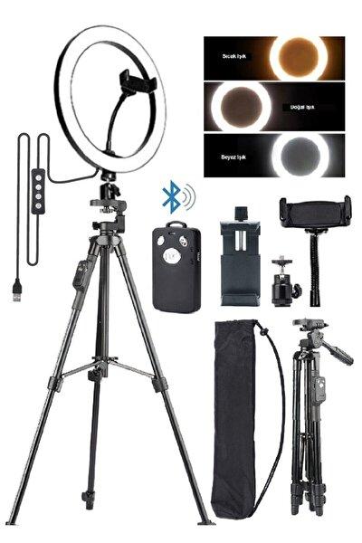 Tripodlu Selfie Işığı Ring Light 10 Inç Led Işıklı Halka Bluetooth Kumandalı Youtuber Tiktok