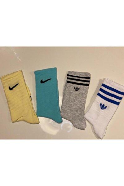 Unisex Renkli Karışık Atletik Çorap Seti 4'lü