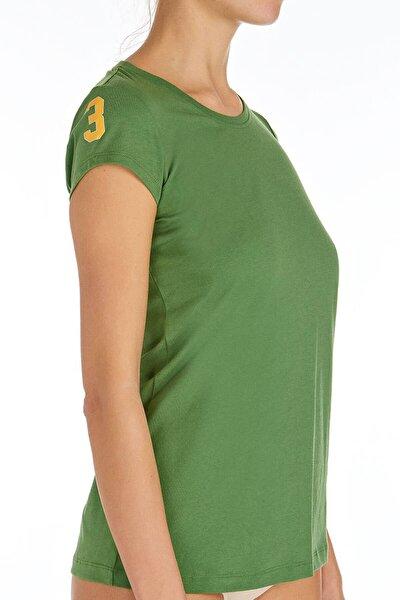 Kadın Yeşil O Yaka T-shirt U.s 01.66054