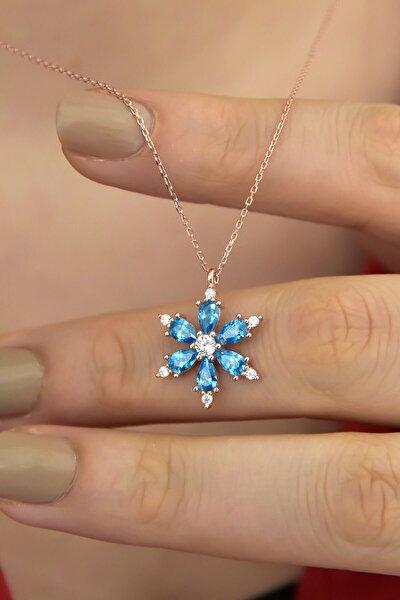 925 Ayar Gümüş Mavi Taşlı Kamelya Çiçeği Kadın Kolye