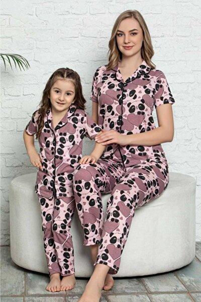 Anne-kız Pembe Ayı Desenli Kısa Kollu Gömlek Yaka Pamuklu Pijama Takımı