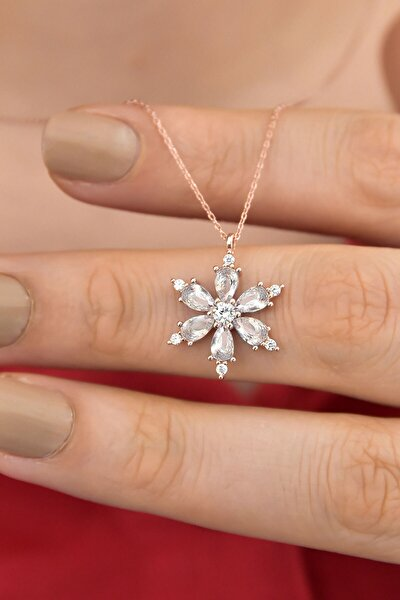 925 Ayar Gümüş Beyaz Taşlı Kamelya Çiçeği Kadın Kolye