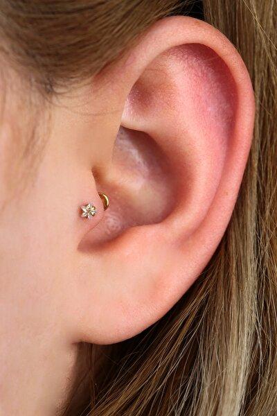 Cerrahi Çelik Yıldız Taşlı Piercing Tragus - Helix (8mm) Gold Renk