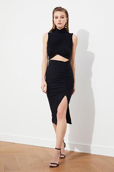 Siyah Bel Detaylı Elbise TPRSS21EL1398