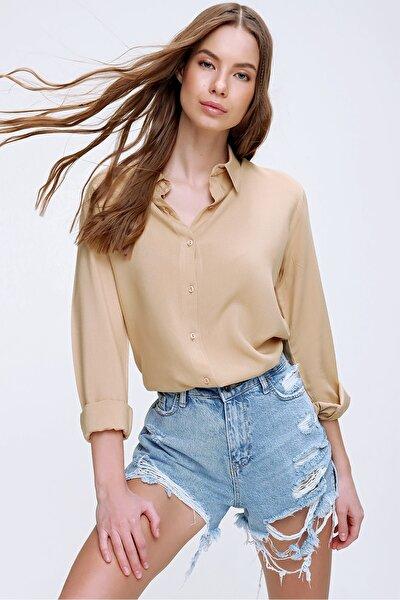 Kadın Bej Basic Viscon Gömlek ALC-X5442
