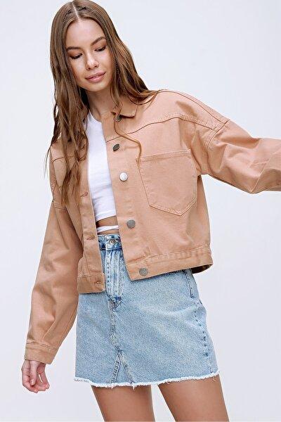 Kadın Açık Bej Crop Denım Ceket ALC-X3631-RV