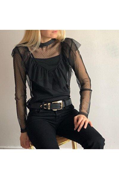 Siyah Tül Yakası Güpürlü Bluz