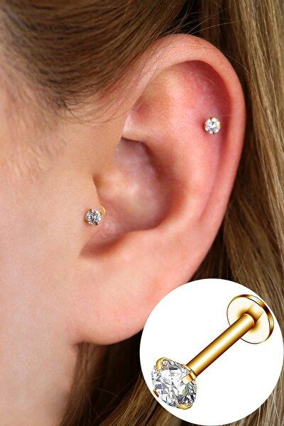 Cerrahi Çelik Taşlı Piercing Helix - Tragus 8mm Gold Renk