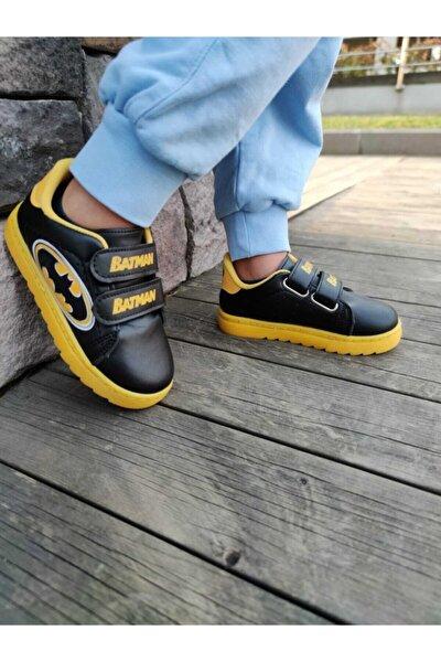 Unisex Çocuk Sarı Siyah Batman Desenli Günlük Cırt Cırtlı Bağcıklı Spor Ayakkabı