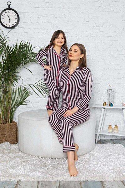 Anne-kız Siyah-pembe Çizgili Gömlek Yaka Pamuklu Pijama Takımı