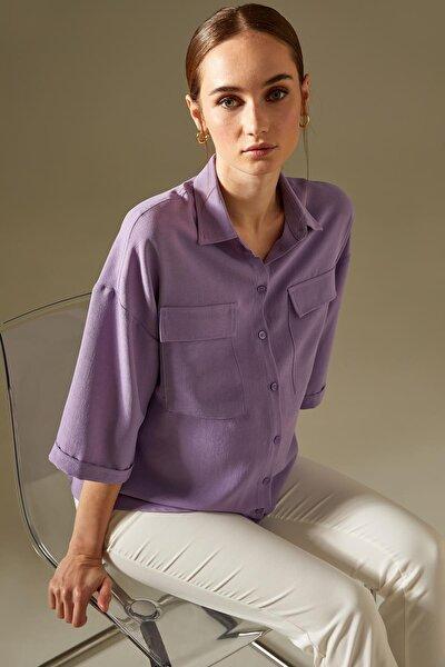 Kadın Mavi Hamile Cep Detaylı Yarım Kollu Gömlek U0727AZ21SP