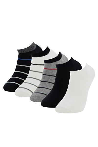 Erkek Beyaz Desenli Patik Çorap 5'li