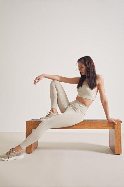 Kadın Yüksek Bel Slim Fit Poliamid Karışımlı Spor Tayt T2408AZ21SP