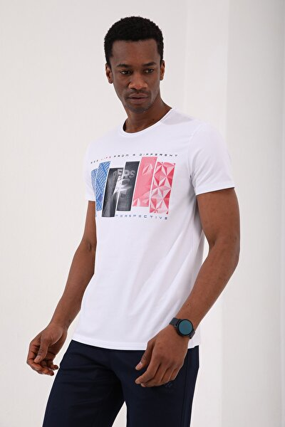 Beyaz Erkek Dikdörtgen Desen Baskılı Standart Kalıp O Yaka T-shirt - 87948