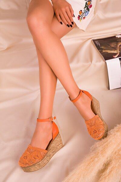 Turuncu Kadın Dolgu Topuklu Ayakkabı 16041