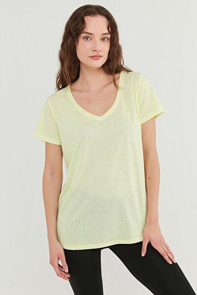 Kadın Sarı V Neck T-Shirt