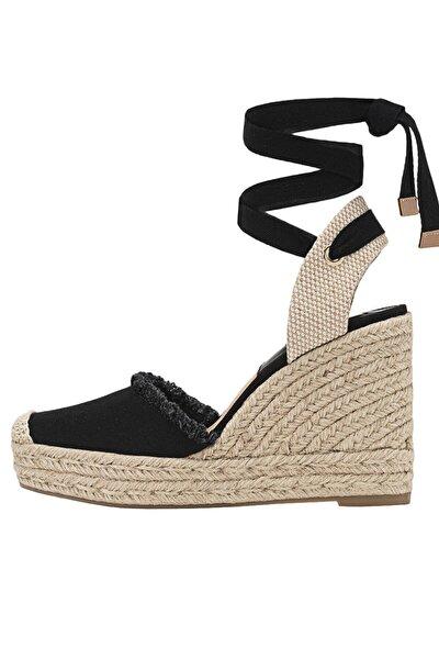 Bağcıklı Jüt Dolgu Topuk Ayakkabı