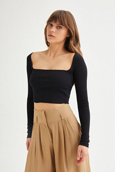 Kadın Kare Yaka Fitilli Crop Top Tshirt