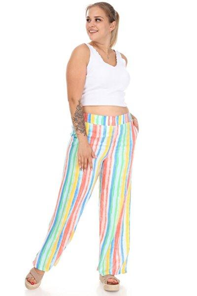 Kadın Çok Renkli Bol Paça Pantolon
