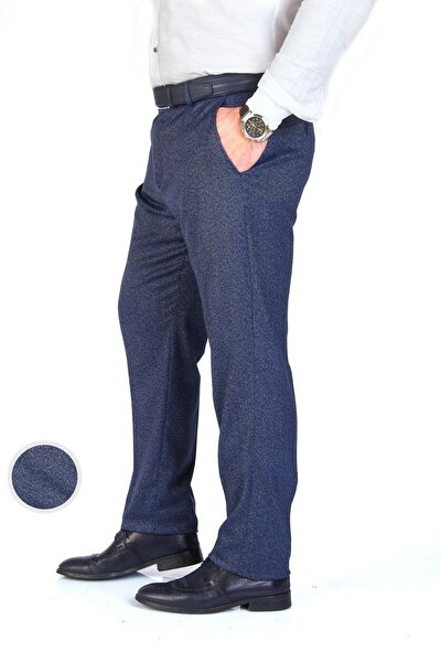Erkek Mavi Likralı Regular Fit Kumaş Pantolon