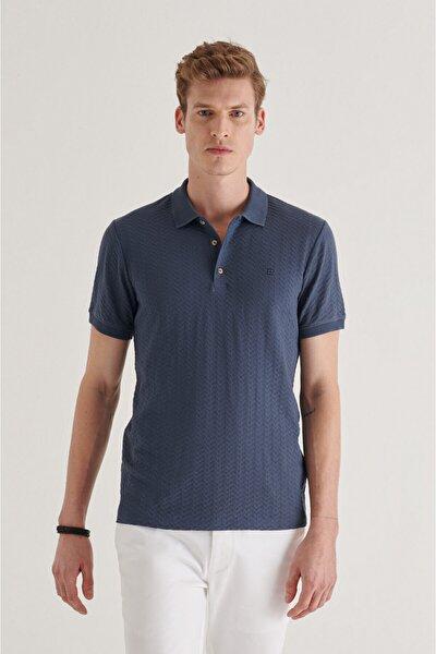 Erkek Indigo Polo Yaka Jakarlı T-shirt A11y1101