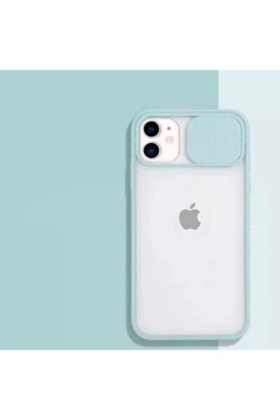 Iphone 11 Uyumlu Kamera Slayt Korumalı Su Yeşili Şeffaf Telefon Kılıfı