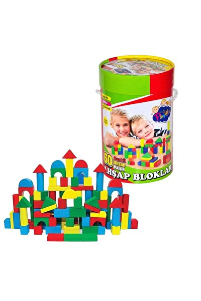 Playwood Çocuk Silindir Kutuda 60 Parça Ahşap Bloklar Renkli 60 Parça