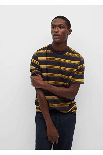 Erkek Mavi Pamuklu Çizgili Tişört