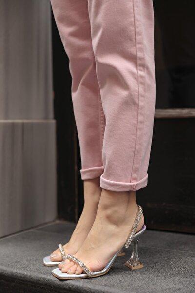 Kadın Gümüş Taşlı Spor Ayakkabı