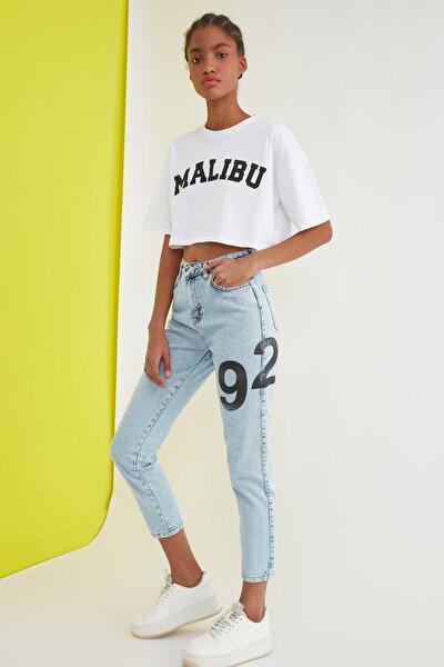 Mavi Baskılı Yüksek Bel Mom Jeans TWOSS21JE0598