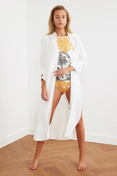Beyaz Gömlek Formlu Plaj Elbisesi TBESS21EL3318