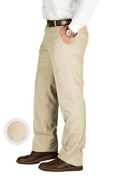 Erkek Bej Yazlık Klasık Kumaş Pantolon