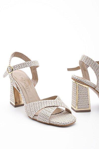 Kadın Bej Klasik Topuklu Ayakkabı Akuze