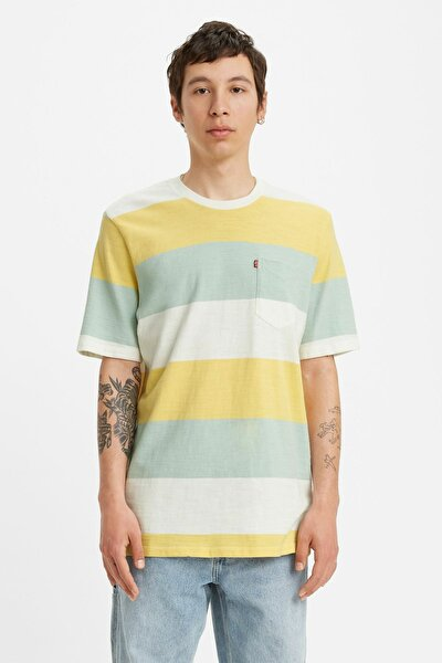 Erkek Renk Bloklu Bisiklet Yaka Cep Detaylı Pamuklu T Shirt