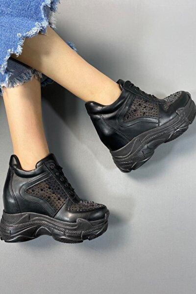 Kadın Siyah Taşlı Gizli Topuk Ayakkabı