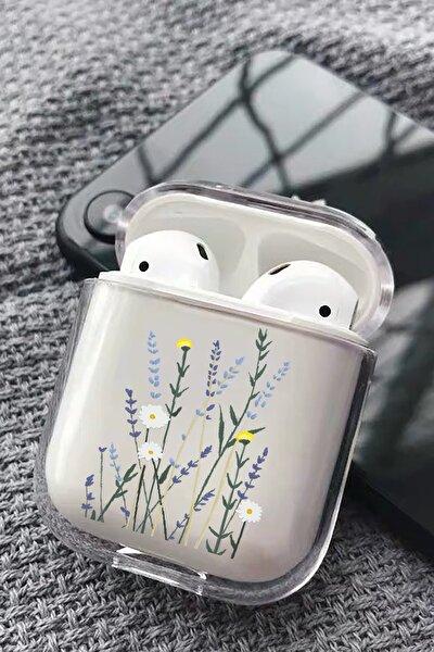 Beyaz Lavenders Tasarımlı Silikon Airpods Kılıfı