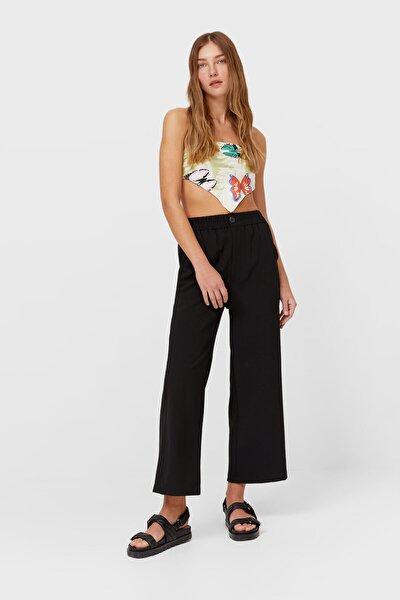Kadın Siyah Rustik Culotte Fit Pantolon