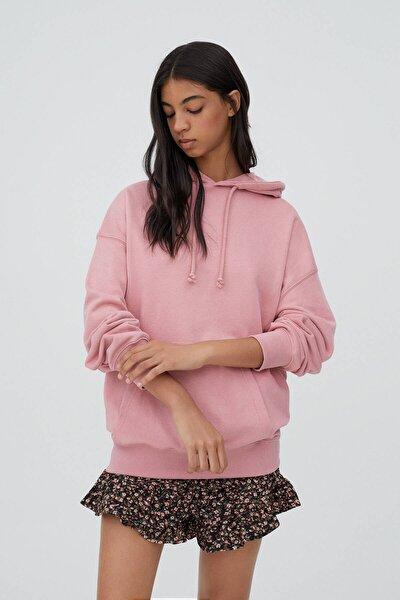 Kadın Pembe Kapüşonlu Oversize Sweatshirt