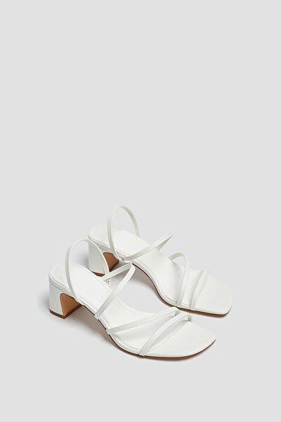 Kadın Ekru İnce Bantlı Topuklu Sandalet