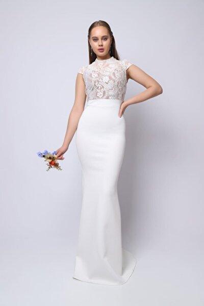 Kadın Beyaz Üst Güpür Detay Balık Elbise - Kb9281