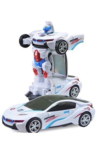 Led Işıklı Pilli Çarpıp Dönen Ve Dönüşen Oyuncak Robot Araba