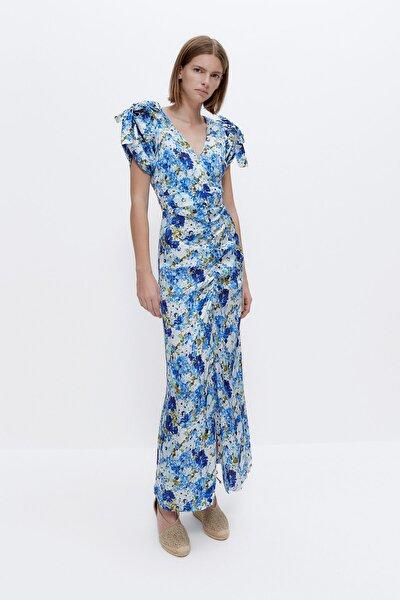 Kadın Mavi Çiçek Desenli Elbise 00534254
