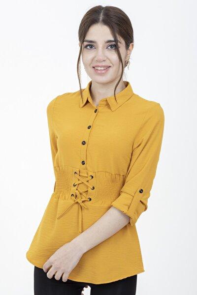 Kadın Hardal Beli Lastikli Bağcık Detaylı Bluz