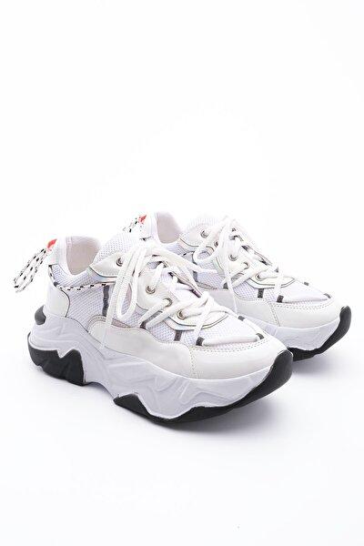 Kadın Beyaz Sneaker Dolgu Topuk Spor Ayakkabı Verina