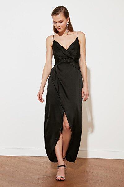 Siyah Kruvaze Yaka Saten Abiye & Mezuniyet Elbisesi TPRSS21AE0050