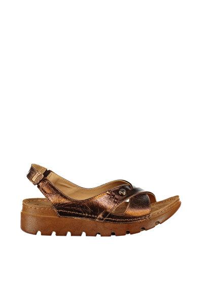 Hakiki Deri Bronz Kadın Sandalet PC-1380-3630