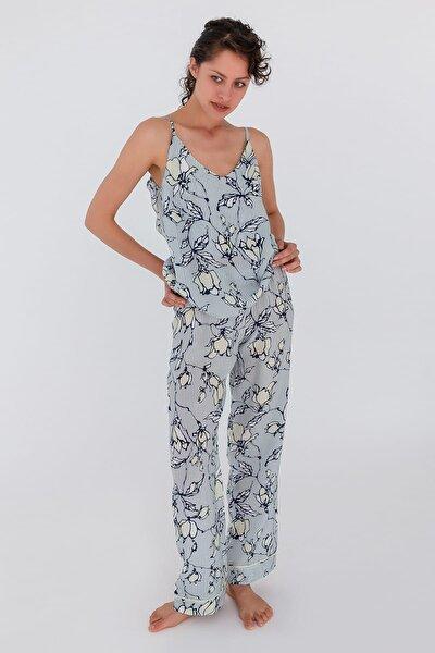 Kadın Lacivert Çiçek Desenli Paçası Bol Cupro Uzun Pijama Altı