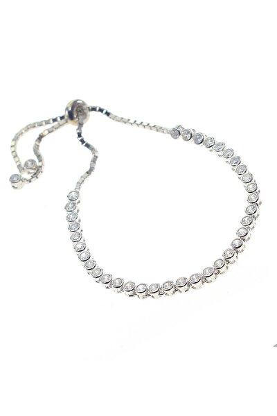 Kadın Gümüş Rodyumlu Zirkon Taşlı Su Yolu Asansörlü Bileklik SGTL8783