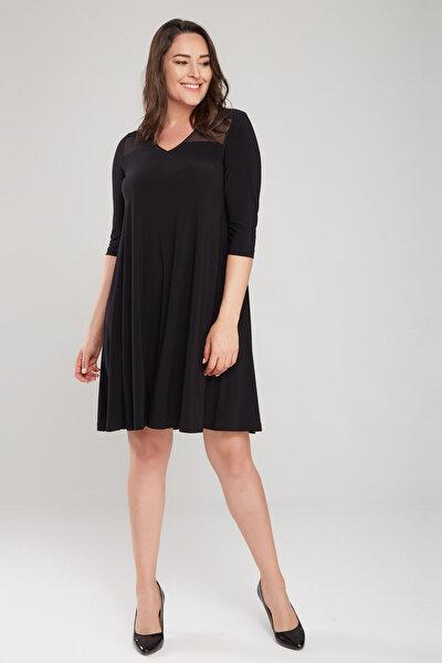Kadın Siyah Tül Detaylı Elbise 17LB9086