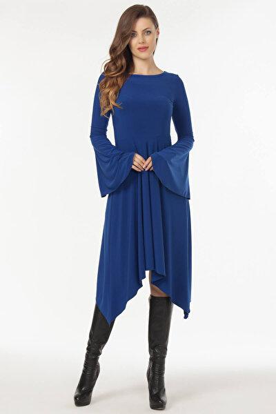Kadın Saks Asimetrik Kesim Elbise 19L6477